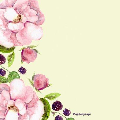 Verjaardagskaart Romantische roos met vlinder 2