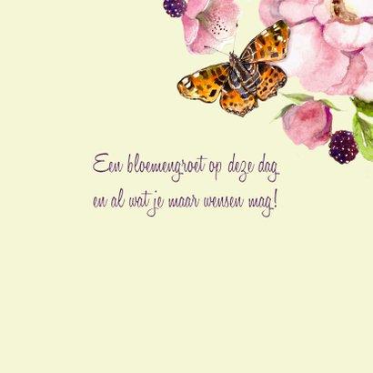 Verjaardagskaart Romantische roos met vlinder 3