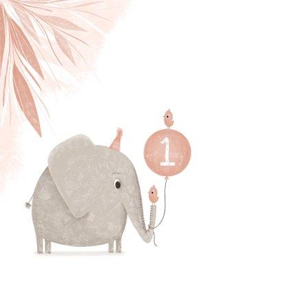Verjaardagskaart roze 1 jaar olifantje met vogel 2