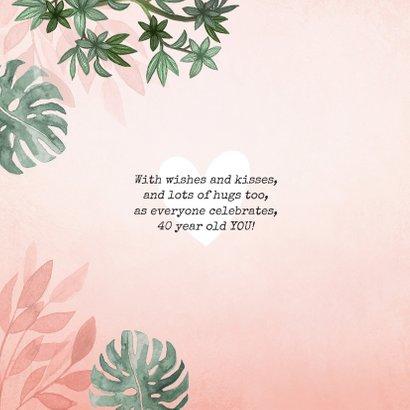 Verjaardagskaart roze jungle botanisch vrouw jarig hartje 2