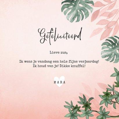 Verjaardagskaart roze jungle botanisch vrouw jarig hartje 3