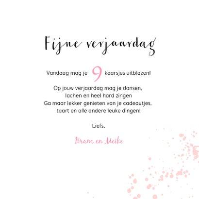 Verjaardagskaart roze met flamingo en spetters 3