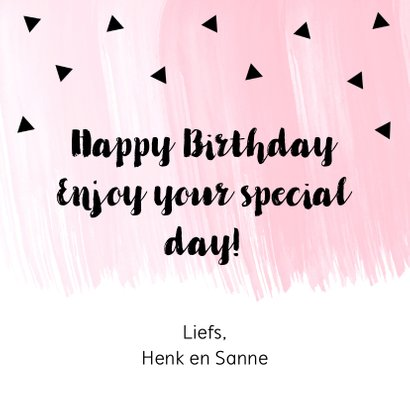 Verjaardagskaart roze waterverf zwarte driehoekjes 3