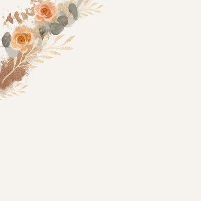 Verjaardagskaart senior bloemen goud rozen proficiat 2