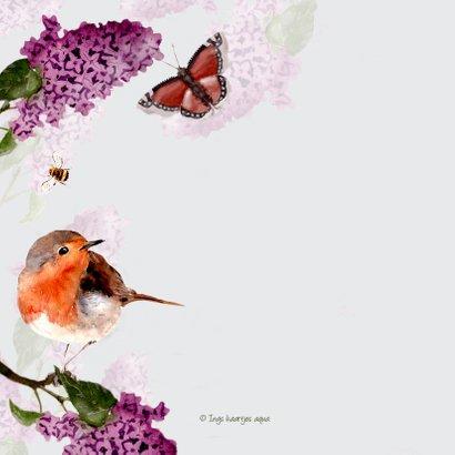 Verjaardagskaart Seringenbloesem met vogel 2