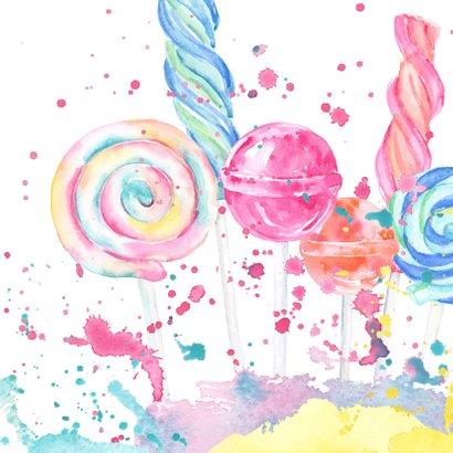 Verjaardagskaart snoepgoed en spetters waterverf 2