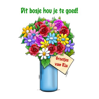 Verjaardagskaart Sorry te laat olifant bos bloemen 3