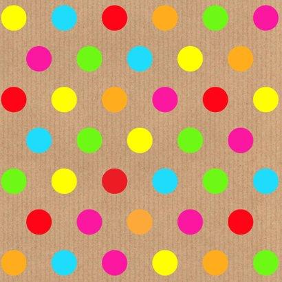 Verjaardagskaart stippen kleur kraft labelprint 2