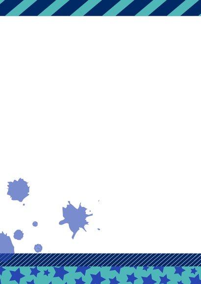 Verjaardagskaart stoer sterren blauw en groen 2
