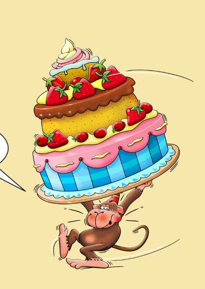 Verjaardagskaart taart met aanpasbare cijfers 65 3