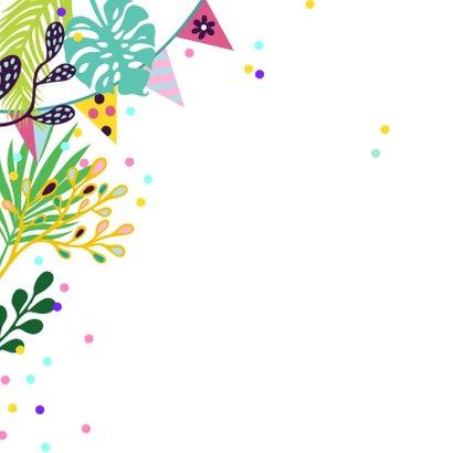 Verjaardagskaart toekan koppel in jungle met confetti 2