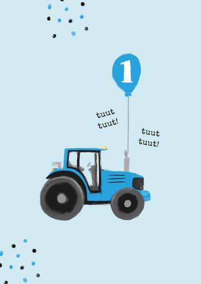 Verjaardagskaart tractor confetti blauw jongen ballon 2