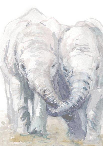 Verjaardagskaart tweeling met olifantjes 2