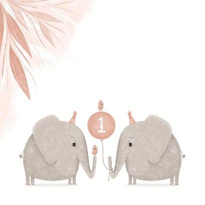 Verjaardagskaart tweeling roze 1 jaar olifantjes met vogels 2