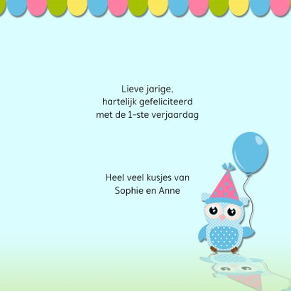 Verjaardagskaart uil met ballonnen 3