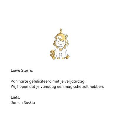 Verjaardagskaart Unicorn goud 3