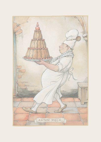 Verjaardagskaart van Anton Pieck bakker met een grote taart 2