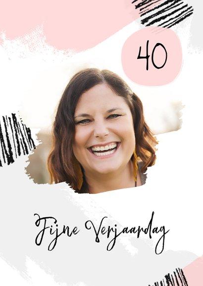 Verjaardagskaart verfstrepen hip met foto vrouw 2