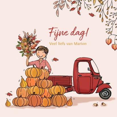 Verjaardagskaart Vespa Ape herfst 3