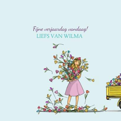 Verjaardagskaart Vespa Ape met tulpen 3