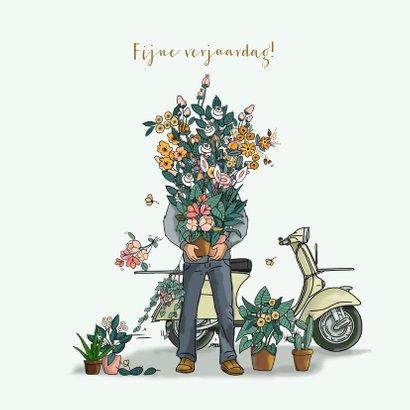 Verjaardagskaart Vespa met bloemen 3