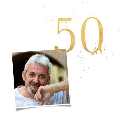 Verjaardagskaart vijftig goud 2