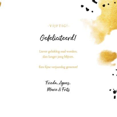 Verjaardagskaart 'vijftig' met polaroid en gouden waterverf 3