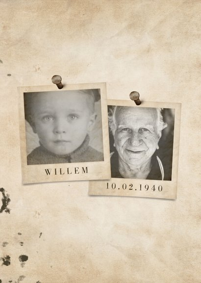 Verjaardagskaart vintage met leeftijd en foto's 2