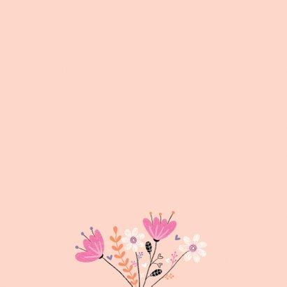 Verjaardagskaart vogel bloemen 2