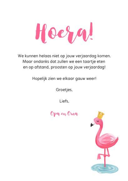 Verjaardagskaart voor een meisje met flamingo 3