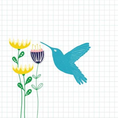 Verjaardagskaart - Vrolijke bloemen & kolibrie 2