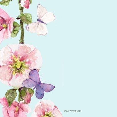 Verjaardagskaart Vrolijke bloemen vlinders 2