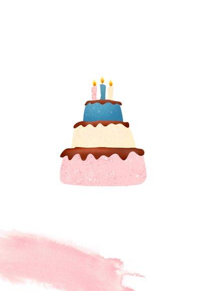 Verjaardagskaart vrouw oude taart foto waterverf humor 2