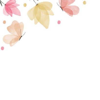 Verjaardagskaart waterverf bloemen en vlinders 2