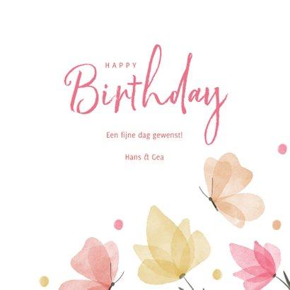 Verjaardagskaart waterverf bloemen en vlinders 3
