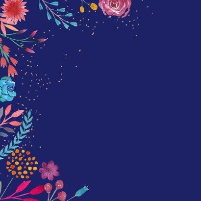 Verjaardagskaart waterverf bloemen vierkant 2