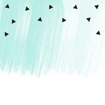 Verjaardagskaart waterverf mintgroen zwarte driehoekjes 2