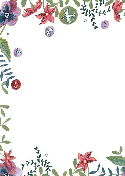 Verjaardagskaart wijn en bloemen 2