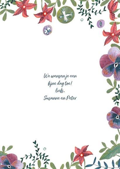 Verjaardagskaart wijn en bloemen 3