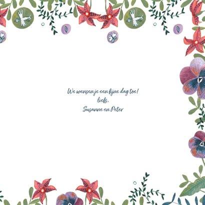 Verjaardagskaart wijn met bloemenfeest 3