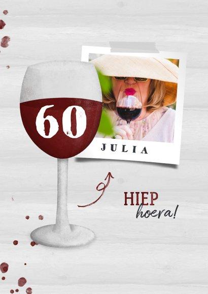 Verjaardagskaart wijnglas met foto en leeftijd 2
