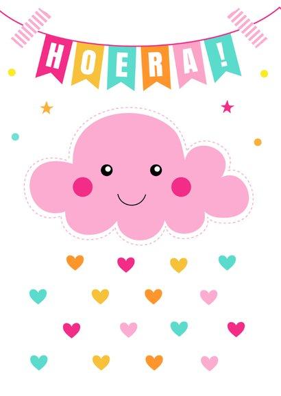 Verjaardagskaart wolkje roze slinger 2