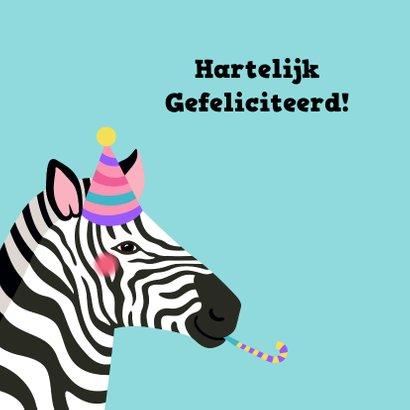 Verjaardagskaart zebra met feesthoed 2