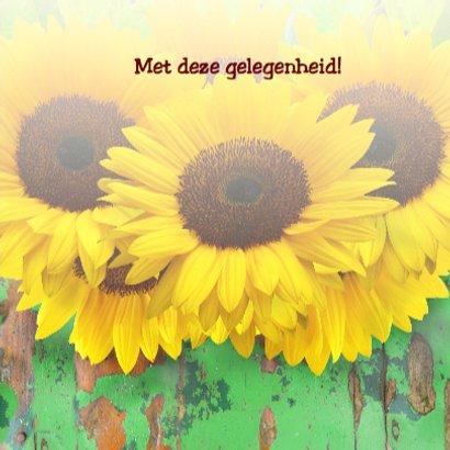Verjaardagskaart Zonnebloemen met hout en felicitatie 3
