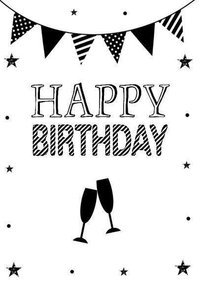 Verjaardagskaart zwart wit slinger confetti 2