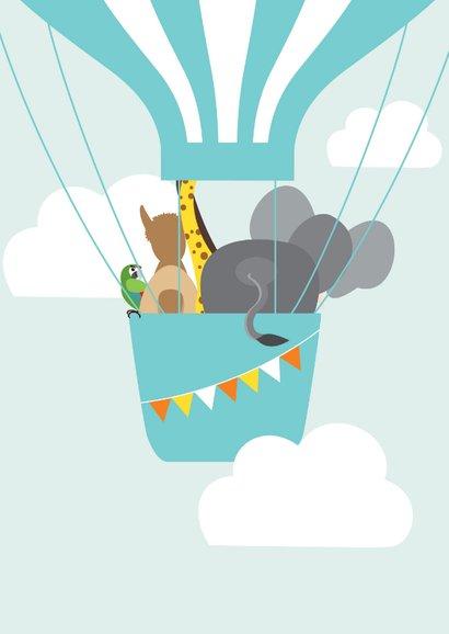 Verjaardagskaartje met vrolijke diertjes in een luchtballon 2