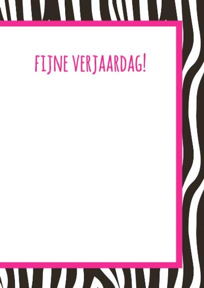 Verjaardagskaartje Zebra Roze 3