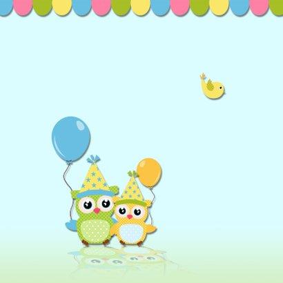 Verjaarkaart uil met ballonnen 2
