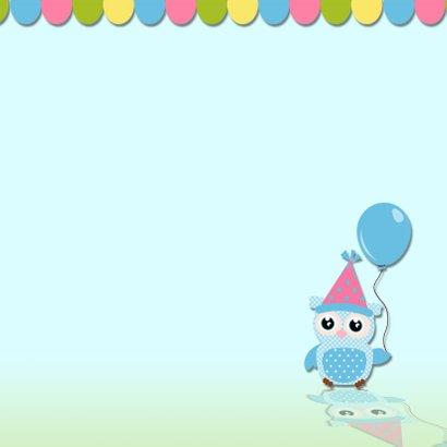 Verjaarkaart uil met ballonnen 3