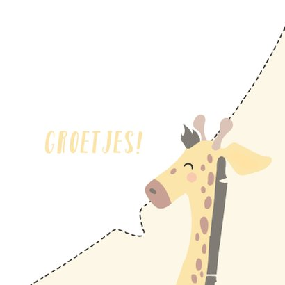 Vierkant kaartje met een gezicht van een Giraffe, groetjes! 3